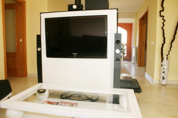 tv mural mueble tv oculta y muebles tv de diseo a medida