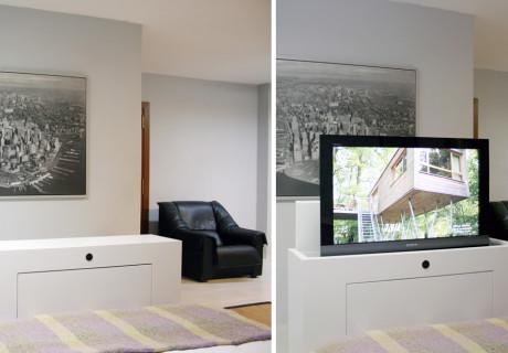 Mueble tv oculta y muebles tv de dise o a medida marquel for Cama escondida en mueble