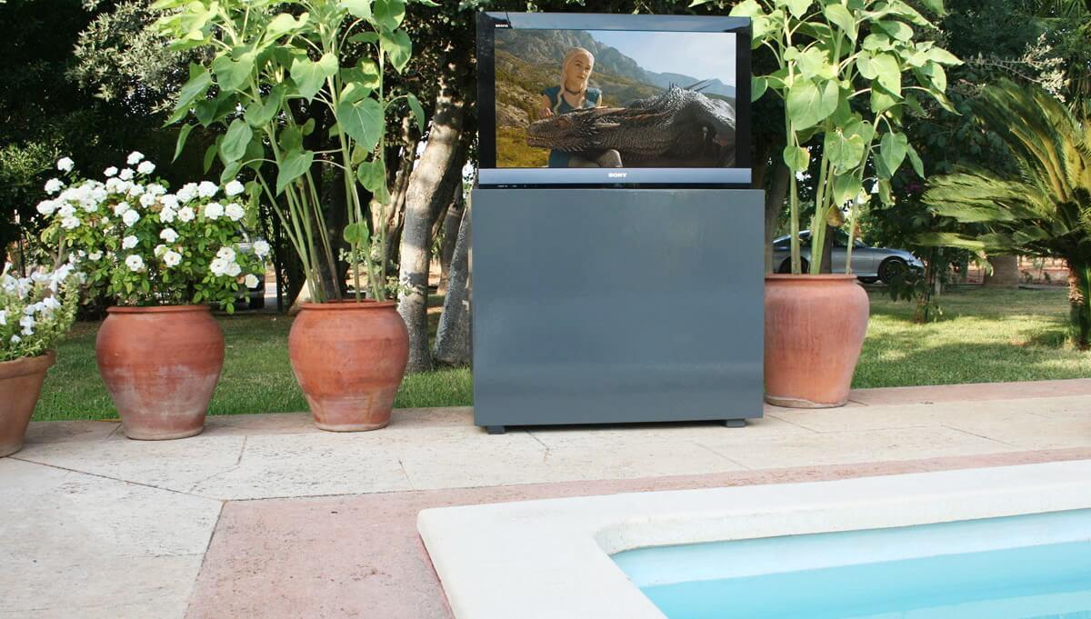 Mueble tv moderno para terraza en gris mueble tv oculta - Mueble de resina para exterior ...