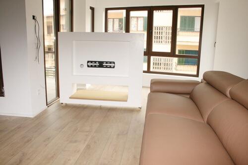 Nuevo trabajo mueble tv blanco iroko con ruedas - Muebles television con ruedas ...